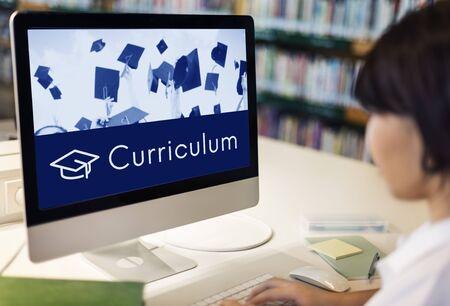 Academiecertificering Curriculum Schoolicoon Stockfoto