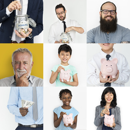 Collection of people saving money for charity