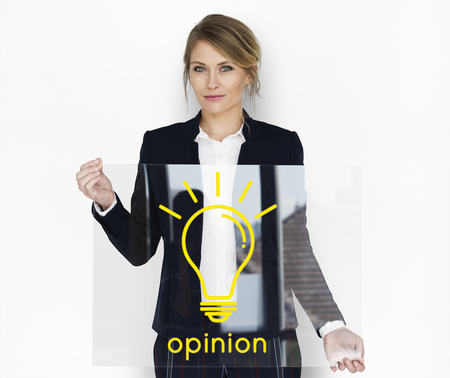 opinion: Opinion word light bulb icon graphic Stock Photo