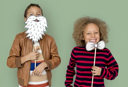 Little Children Posing Papercrafted Beard Bowtie Stock Photo