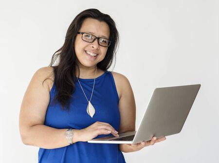 techie: Woman Using Laptop Notebook Technology Stock Photo