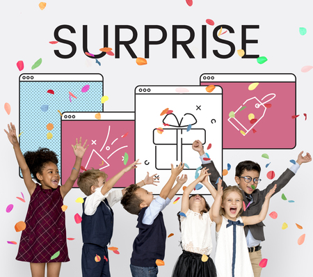Illustration of anniversary celebration surprise interface Stock Photo