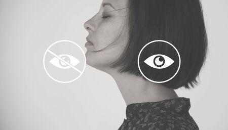 Eye View Zichtbaar Onzichtbare Pictogrammen Illustratie