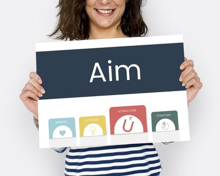 Vrouw met billboard netwerk grafische overlay Stockfoto