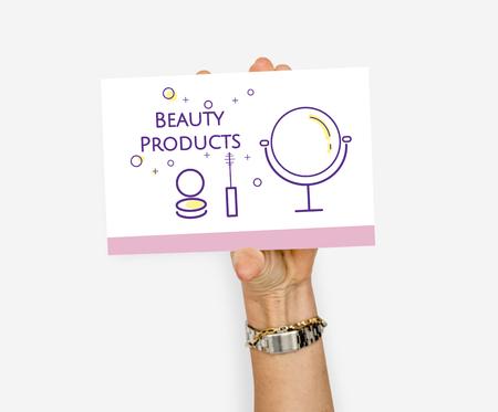 Hand halten Abbildung der Schönheit Kosmetik Makeover Skincare Banner Standard-Bild - 82025813