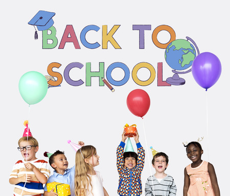 Educated children back to school Stock Photo