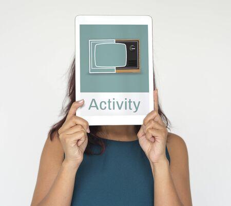 디지털 태블릿에 레크 리 에이션 미디어 엔터테인먼트 TV의 그림 스톡 콘텐츠