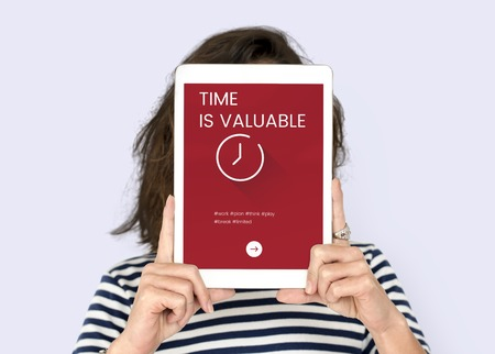 techie: Time concept on a digital device screen Stock Photo