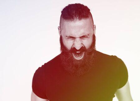 Adult Man Scream Face Expression Emotion Studio Stock Photo