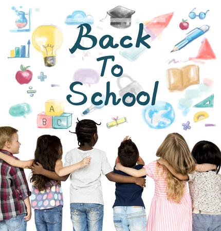 Groep studenten met terug naar school illustratie Stockfoto