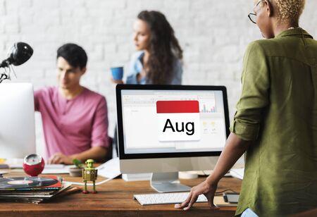Illustration of calendar schedule planning on computer