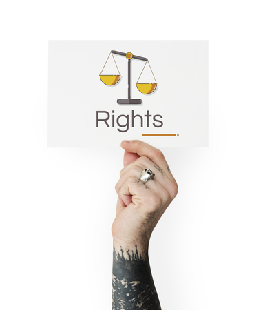 Hand holding banner of justice scale rights and law illustration Stock Illustration - 82395361