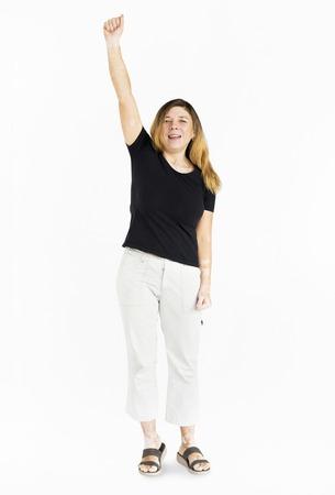 Adult Woman Hand Up Gesture Studio Portrait