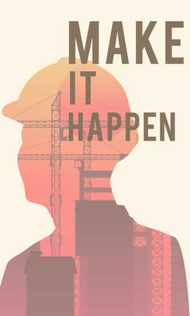 Double exposure of human silhouette and industrial background with Make It Happen concept
