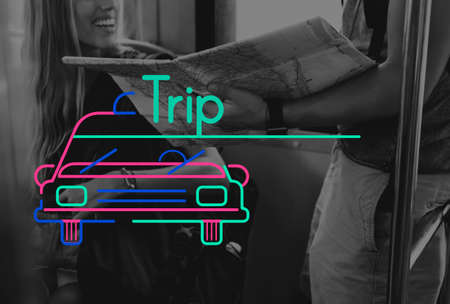 People Travel Journay and Car Graphic Icon