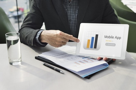 Businessman with mobile application graph download illustration Banco de Imagens