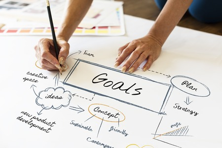 Woman drawing a chart with goals concept