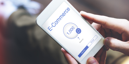 using smart phone: Online Banking Internet Finance E-Commerce Stock Photo