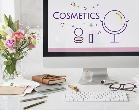 Illustration of beauty cosmetics makeover skincare on computer Stock Photo