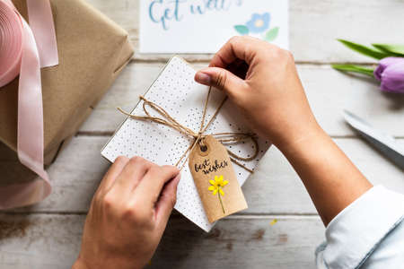 artsy: Craft design simplify wrapping gift on wooden table
