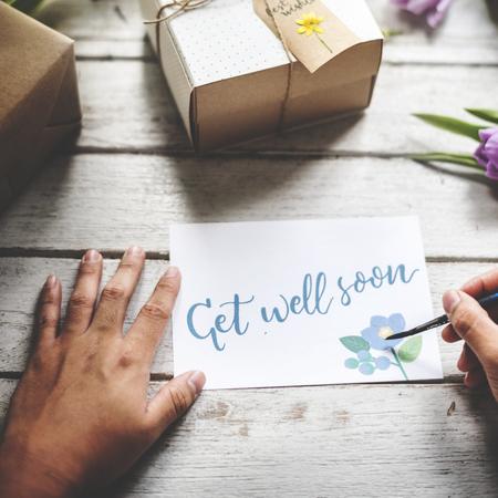 Hand  Writing Get Well Soon Card