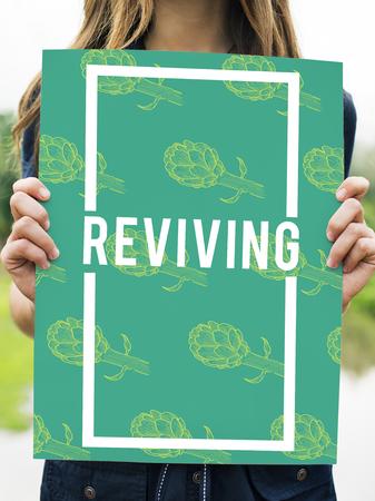 グラフィック デザインの単語を復活させ自然バイタリティ