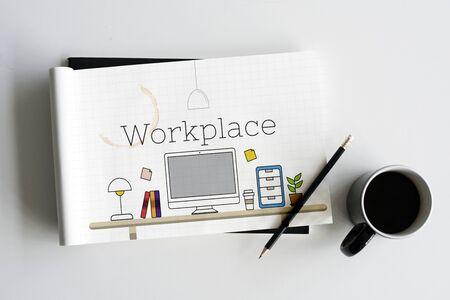 Office Workspace Interior Modern Design Graphic