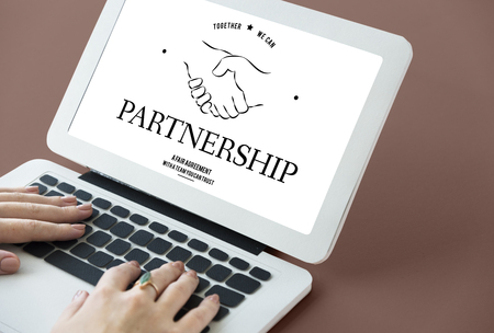 Partnership Teamwork Support Cooperation Achievement Organization Handshake Graphic Reklamní fotografie - 82074437