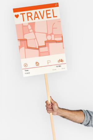 Hand holding network graphic overlay billboard