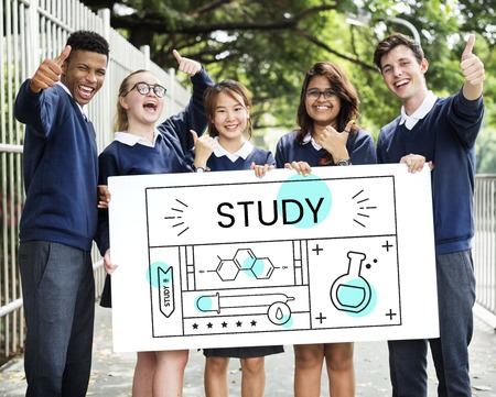 Group of students with illustration of science chemistry experiment study Stock Photo