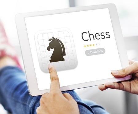 Illustration der Schach strategischen Denkspiel Anwendung Standard-Bild - 82092024
