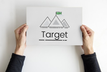 Illustratie van doelen richten zich op berg op banner Stockfoto