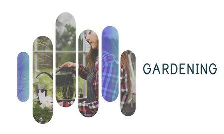 Gardening word on plants background