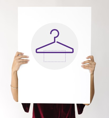 Clothes store commercial with hanger illustration