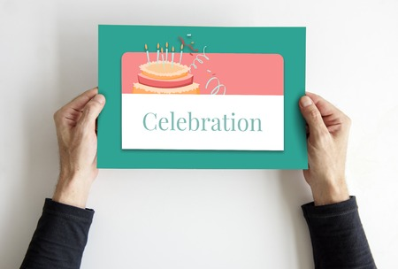 Illustration of birthday party event celebration with cake on banner