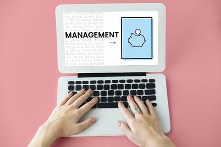 Illustration of economy financial planning piggy bank on laptop