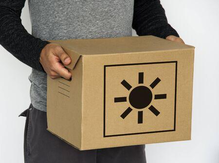 Sun Heat Caution Warning Package Sign Symbol Stok Fotoğraf