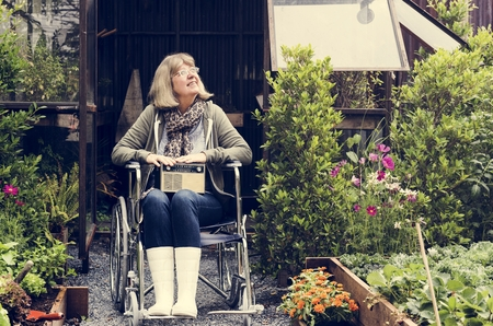 Senior adult woman on wheelchair in the garden Stock fotó