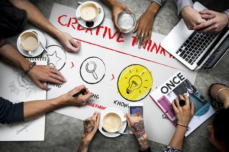 Creative Thinking Learning Diagram Sign Stock Photo