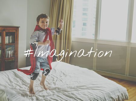 Little Kid with Imagination Word Graphic Hashtag Stok Fotoğraf