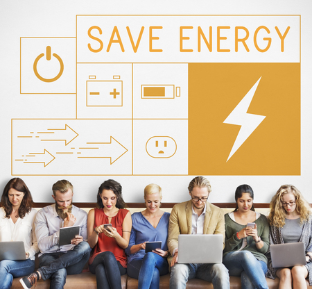 People with energy saving sustainability power generation campaign