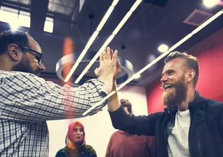 Startup Business People Teamwork Cooperation High Five Hands Stok Fotoğraf