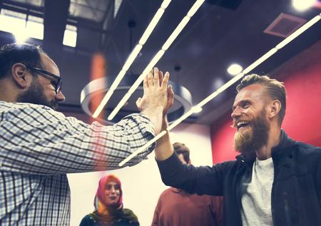 Startup Business People Teamwork Cooperation High Five Hands Foto de archivo