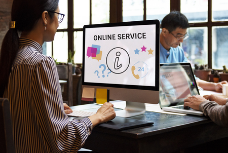 Illustration of contact us online customer services on computer Stock Illustration - 82101445