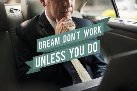 Droomactie Begin met beginnen met motivatie Stockfoto