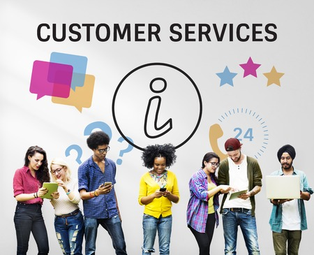 Group of people with illustration of contact us online customer services Banco de Imagens