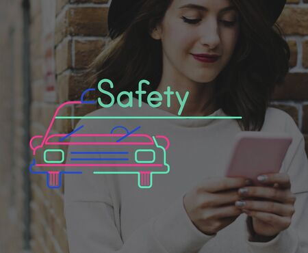 Woman Using Smart Phone Connection with Car Icon Stock Photo