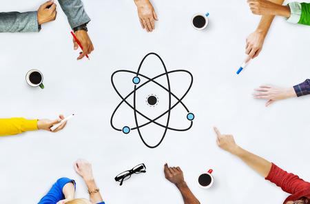 양자 핵 분자 구조의 일러스트레이션
