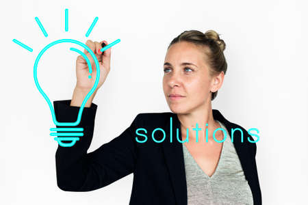 Ideas Light Bulb Think Create Graphic Word Banco de Imagens
