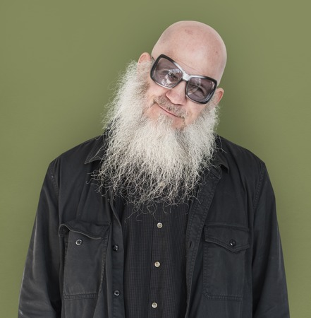 Men Adult Long Beard Wear Sunglasses Smile